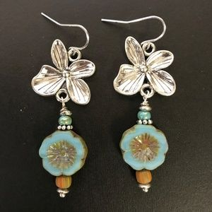 Turquoise Cornflower Earrings